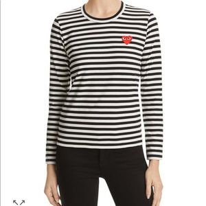 CDG Cotton Red Emblem Stripe Tee